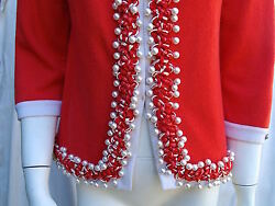 CHANEL 10P  $5.5K LESAGE PEARL CORAL-RED CASHMERE CARDIGAN JACKET- F42   NEW