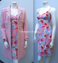 NEW-TAGS  CHANEL BOUTIQUE 2PC  SILK BUSTIER DRESS FANTASY TWEED COAT SUIT -36