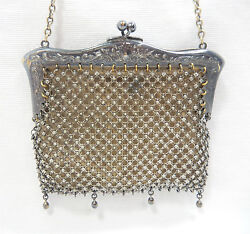 ANTIQUE - Lined Metal Mesh Purse with Ornate Raised-Detail - Ger. Silver