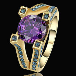 Fashion Trendy Size 8 Purple Amethyst Crystal Wedding Yellow Rhodium Plated Ring $1.18
