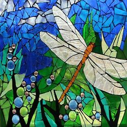 DRAGONFLY STAINED GLASS INSPIRED COASTERS  SET OF 4 FABRIC TOP  RUBBER BACKED