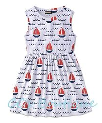 Girls red white blue sundress 12 NWT July 4th nautical sailboat dress beach