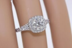 14k White Gold Hearts On Fire 2.15ct Round Diamond Split Shank Halo Ring Sz 6.5