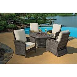 Portico Wicker Patio Chair & Cast Aluminum Gas Fire Pit Outdoor Furniture Set...