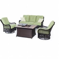 Hanover Orleans 4 Piece Fire Pit Seating Set Green Wood Tile Top