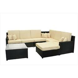 8-Piece Black Resin Wicker Outdoor Furniture Sectional Sofa Table & Ottoman S...