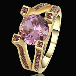 Fashion Trendy Size 8 pink Crystal Wedding Yellow Rhodium Plated jewelry Ring $1.08