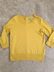 Boden Button Down Back Jumper Mustard 10 34 Sleeve See Back Pics Beautiful