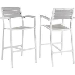 Maine Outdoor Patio Bar Stool in White Metal & Light Gray Polywood Set of 2