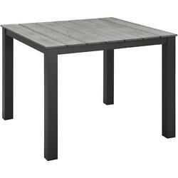 EastEnd Maine Outdoor Patio Dining Table in Brown Metal & Gray Polywood 40 in.