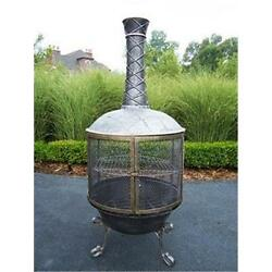 Oakland Living 8019-AP Tower Feast Chimenea With Grill Antique Pewter