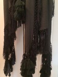 **A F VANDEVORST** Tasselled Beaded Fringed Wool Cape Shawl Wrap **OUTSTANDING**