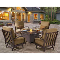 BEST 5pc GAS FIRE PIT CHAT SET White Glove Delivery + Outdoor Set Up Included