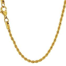 Stainless Steel - 16 inch 2mm Gold Ion Plated Rope Chain (FC017L16)