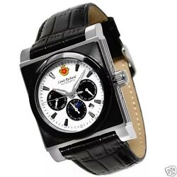 LOUIS RICHARD MENS FONTAINE AUTOMATIC WATCH WHITE DIAL BLACK LEATHER