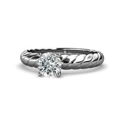 Diamond Solitaire Rope Engagement Ring 1.00 ct in 14K White Gold JP:118997