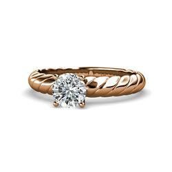 Diamond Solitaire Rope Engagement Ring 1.00 ct in 14K Rose Gold JP:118999