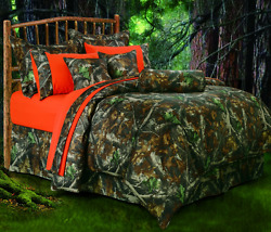 Queen 7-PC Green Camo Comforter Set Rustic Camouflage Print Timber Tree Bedding