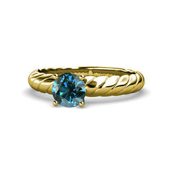 Blue Diamond Solitaire Rope Engagement Ring 1.00 ct in 14K Yellow Gold JP:118992
