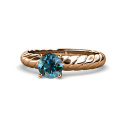 Blue Diamond Solitaire Rope Engagement Ring 1.00 ct in 14K rose Gold JP:118993
