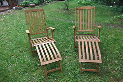 Two Vintage Folding Teak Lounger Garden Steamer Chairs Chaise Lounges