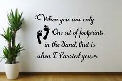 Footprints in the Sand w print Vinyl decal for Family Room Wall Bedroom Living $11.49
