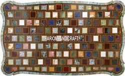 6'x4' Green Marble Top Dining Table Beautiful Mosaic Art Inlay Patio Decor H3880