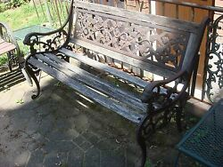 Antique Cast Iron Lion Head Carved Outdoor Garden Bench wFull Back