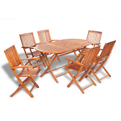 Oval Dining Table and 6 Folding Chairs Garden Furniture Set Outdoor Patio Wood