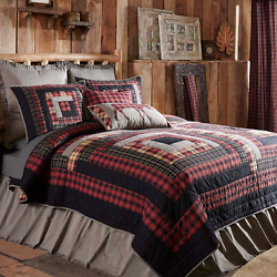 12-PC CUMBERLAND Cal King Log Cabin Lodge Rustic SUPER DUPER Quilt Set NEW VHC