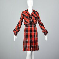 XS 1970s Buffalo Check Skirt Suit Separates VTG 70s School Girl Outfit Red Black $153.00