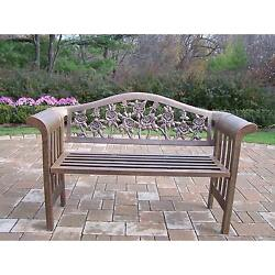 Oakland Living Corporation Queen Camellia Antique Bronze Iron Bench