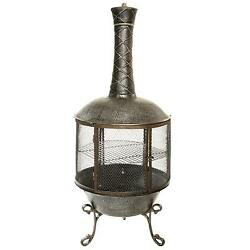Heavy Duty Pennsylvania Chimenea with 360 View Grill Grate and Spark