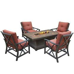 Cascadian 5-piece Red Lava Rock Gas Firepit Table Chat Set with 4 Cushioned