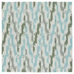 Seaside Ivory and Blue Ikat IndoorOutdoor Rug (5'9 x 5'9 Square)