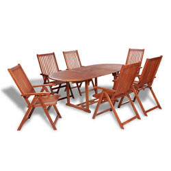 Oval Extending Dining Table and 6 Folding Chairs Garden Furniture Set Patio