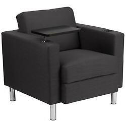 Fabric Guest Chair with Tablet Arm Tall Chrome Legs Cup Holder