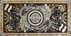 8'x4' Table Marble Dining Top Real Musical Instrument Inlaid Patio Decor H4002B