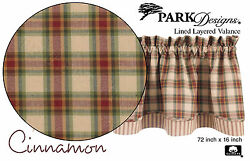 Cinnamon Layered Valance by Park Designs One Lined 72x16 Cozy Country Plaid