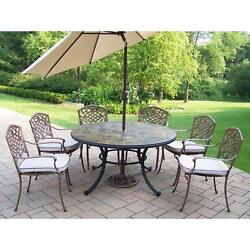Dakota Outdoor Dining Set with Stone Top Table 6 Cushioned Chairs and Beige