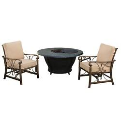 Novelina Round Firepit Table Set with Burner System Fire Beads Weather Cover