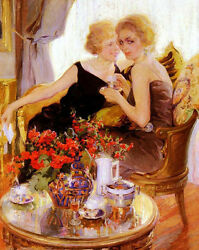 Oil painting Francisco Pons Arnau Secrets May I have a word in your ear girls $69.99