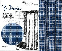 B Davies Shower Curtain by Park Designs Country Blue & White Weave 72x72 One
