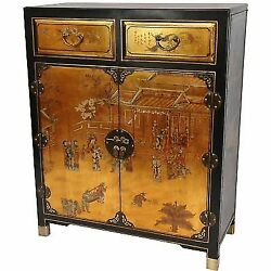 Oriental Furniture Gold Lacquer Two Drawer Cabinet