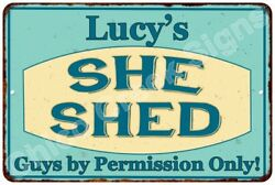 Lucy's SHE SHED Vintage Look Sign 8x12 Chic Woman Metal Wall Décor 8127976