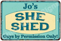 Jo's SHE SHED Vintage Look Sign 8x12 Chic Woman Metal Wall Décor 8128018