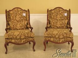 L42282L42283: Pair HICKORY WHITE Country French Upholstered Wing Chair ~ NEW