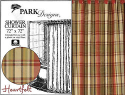 Heartfelt Shower Curtain by Park Designs 72x72 Country Plaid Pick One or Set