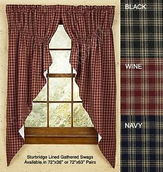 Sturbridge Gathered Swag by Park Designs 72x36 or 72x63 Pair Pick of 3 Colors