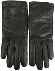 NEW GUCCI LADIES BLACK MICROGUCCISSIMA LEATHER CASHMERE LINED GLOVES 7.5 WBOX
